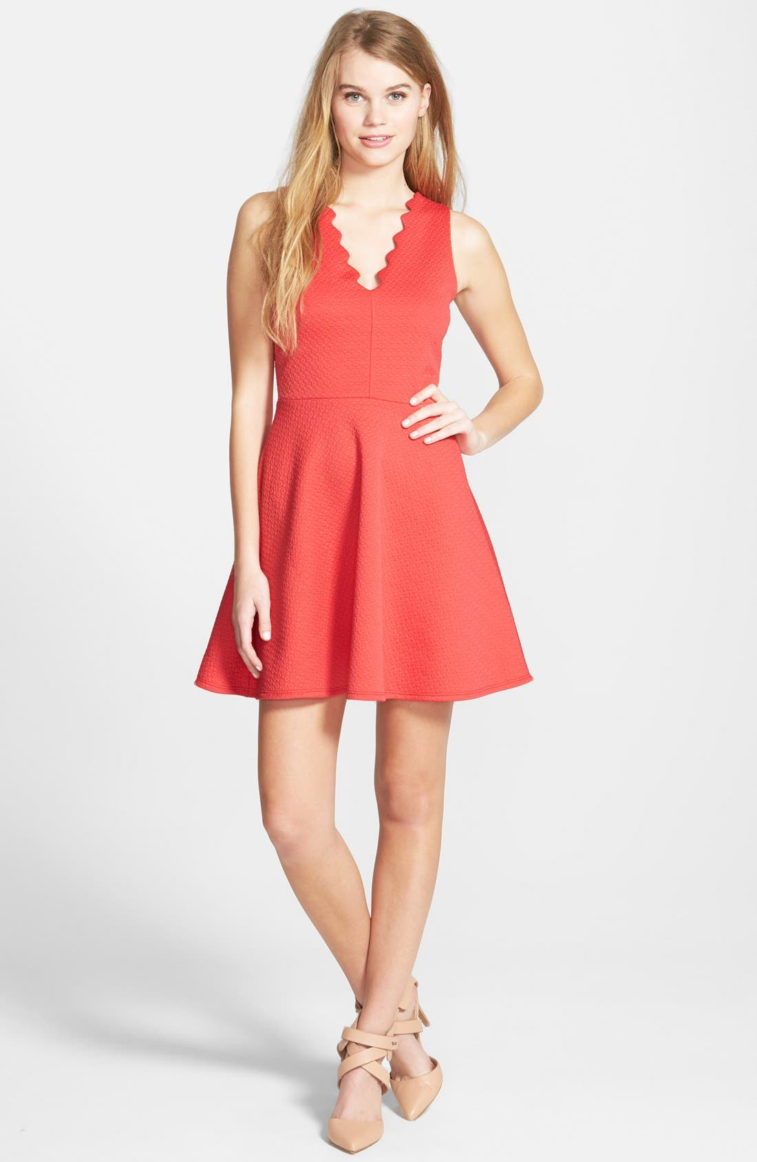Main Image - dee elle Scallop Textured Skater Dress