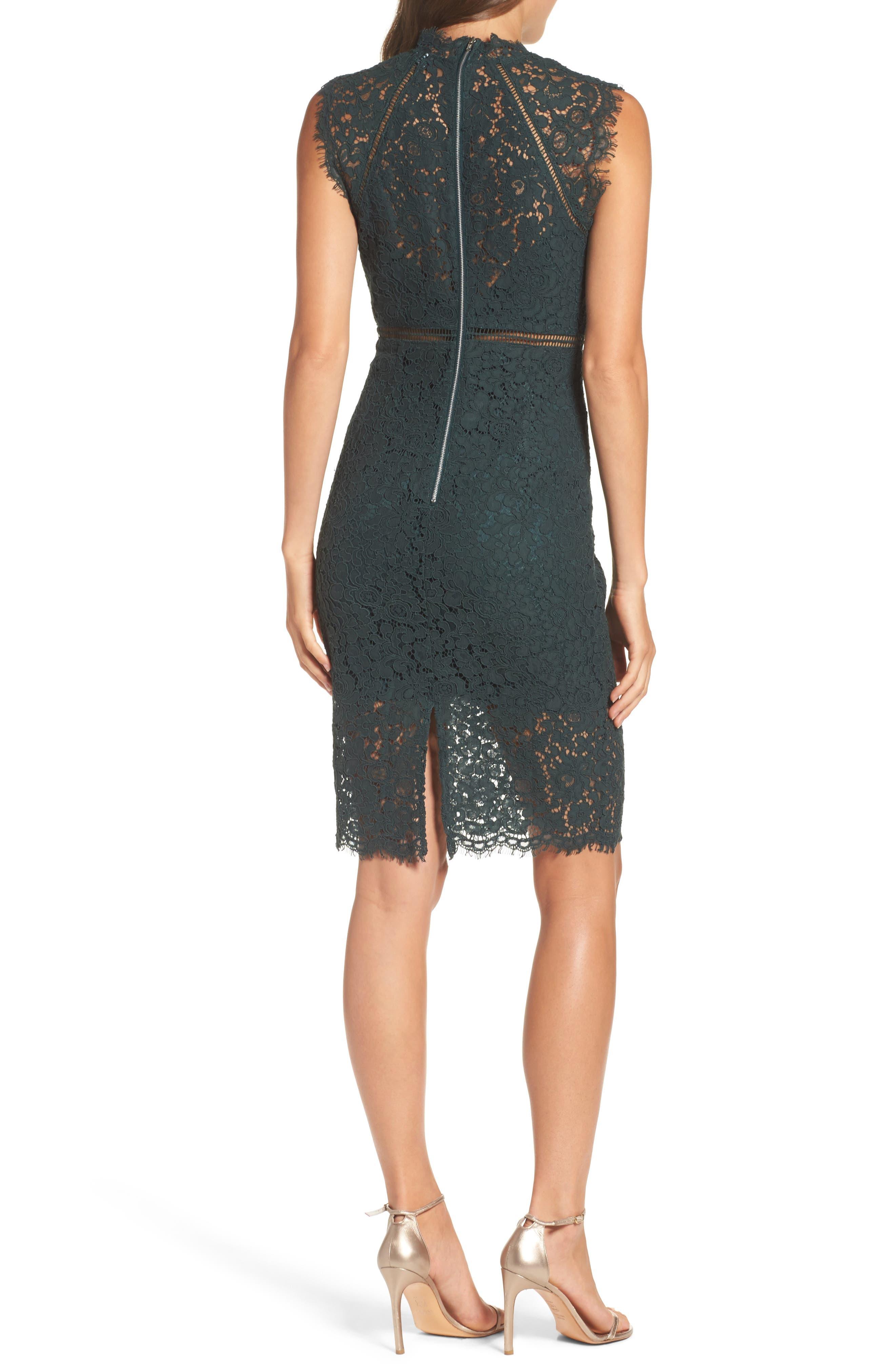 Lace Sheath Dress,                             Alternate thumbnail 2, color,                             Forest 2