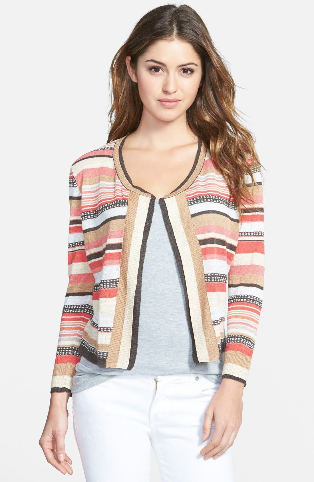 Alternate Image 1 Selected - NIC+ZOE 'Bright Stripe' Cardigan (Regular & Petite)