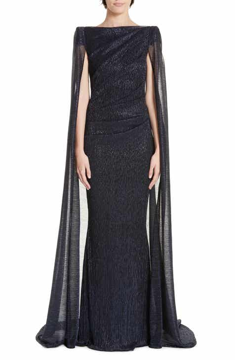 Talbot Runhof Off the Shoulder Sequined Dress with Cape by Talbot Runhof