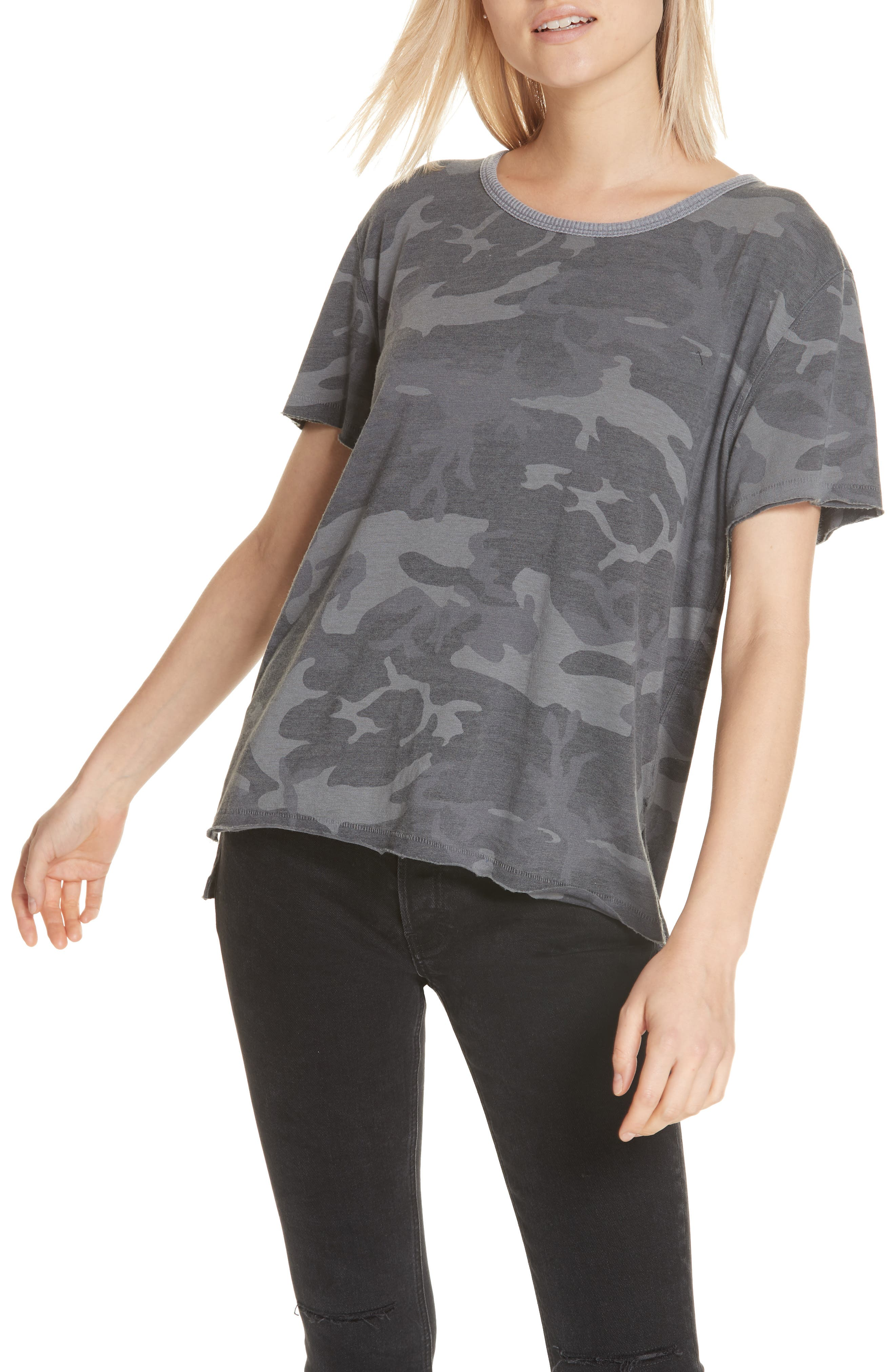 Camouflage Top Nordstrom Torch Tshirt Women Blue Black Navy M