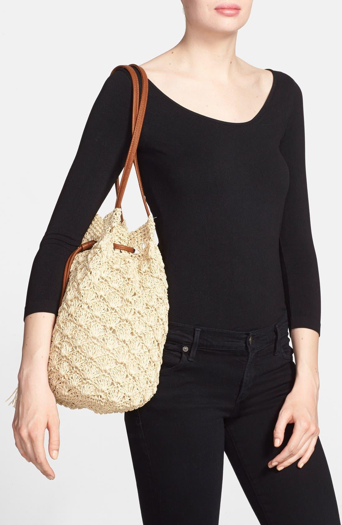 Alternate Image 2  - Street Level Crochet Straw Bucket Bag