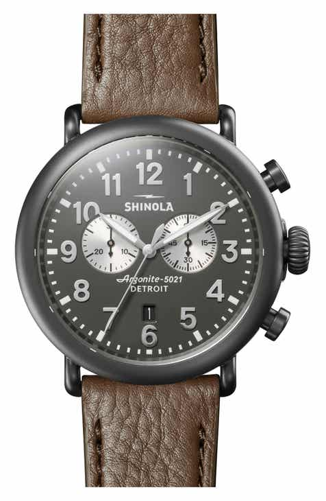 705808779 Shinola The Runwell Chrono Leather Strap Watch, 47mm