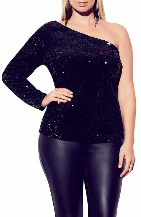 City Chic Disco Fever One-Shoulder Sequin Top (Plus Size) cdefc0363595f