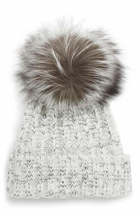 b9ed22459b3 Kyi Kyi Beanie with Genuine Fox Fur Pom