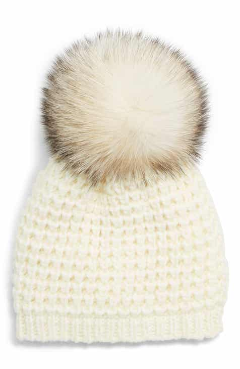 015d995857b0b Kyi Kyi Genuine Fox Pompom Hat