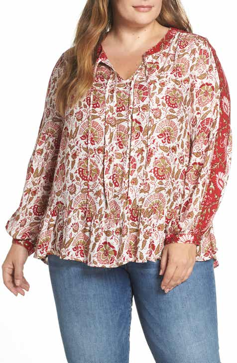 ea0e83e3e89 Lucky Brand Border Print Peasant Blouse (Plus Size)