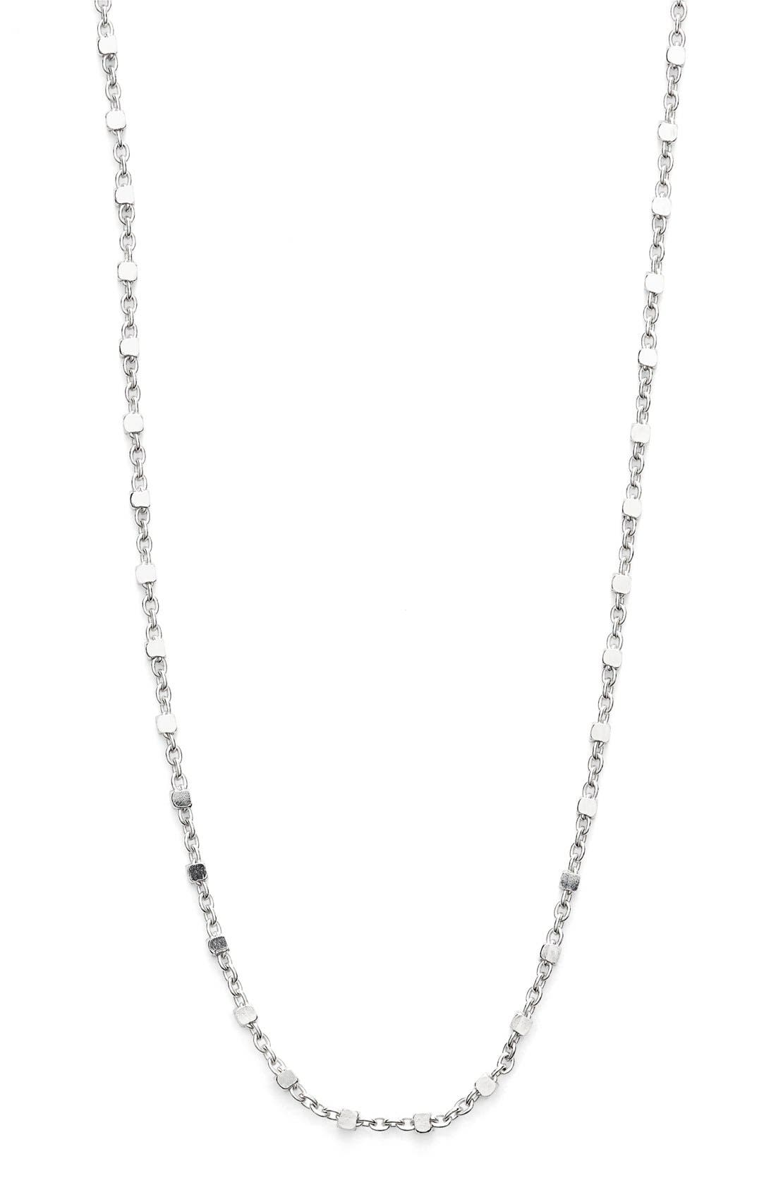 Beaded Chain Long Necklace,                             Alternate thumbnail 2, color,                             White Gold