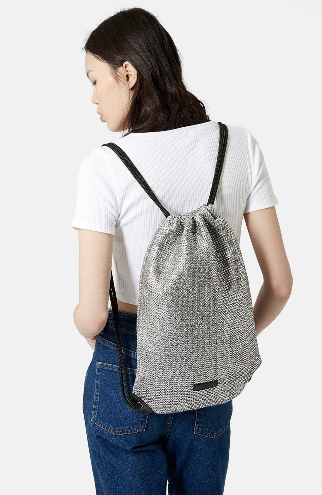 Alternate Image 2  - Topshop 'Metallix' Woven Drawstring Bag