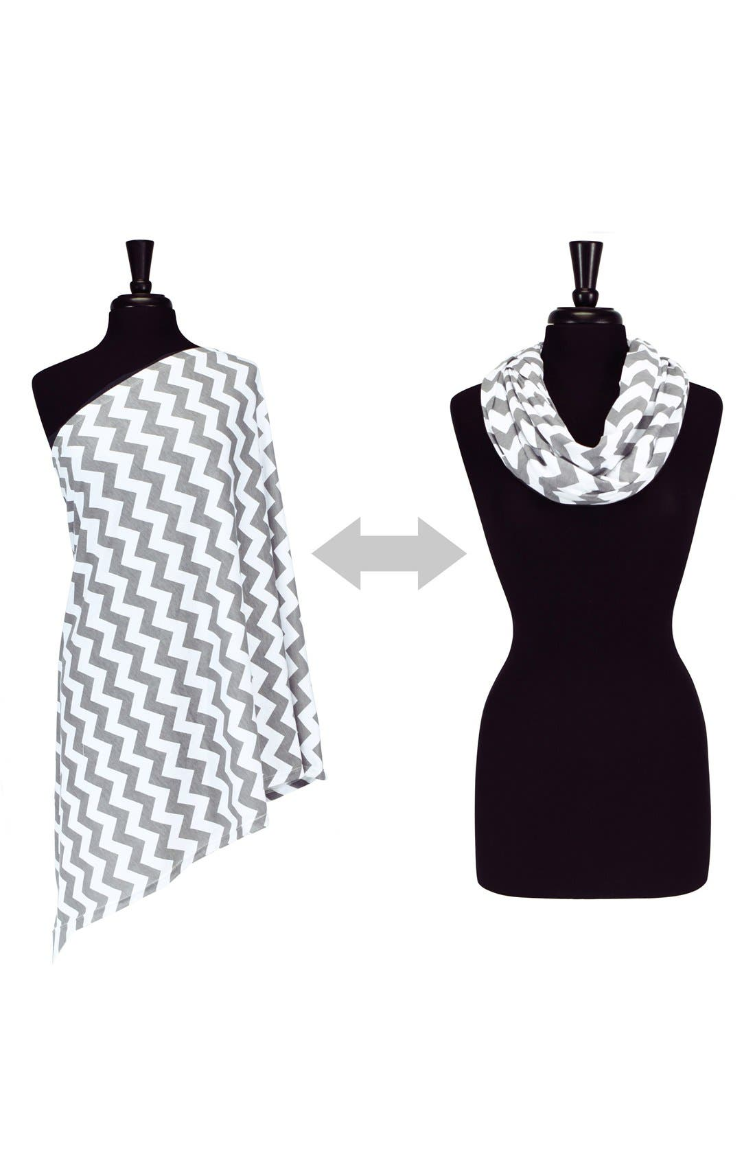 Infinity Nursing Scarf,                             Alternate thumbnail 6, color,                             Grey/ White