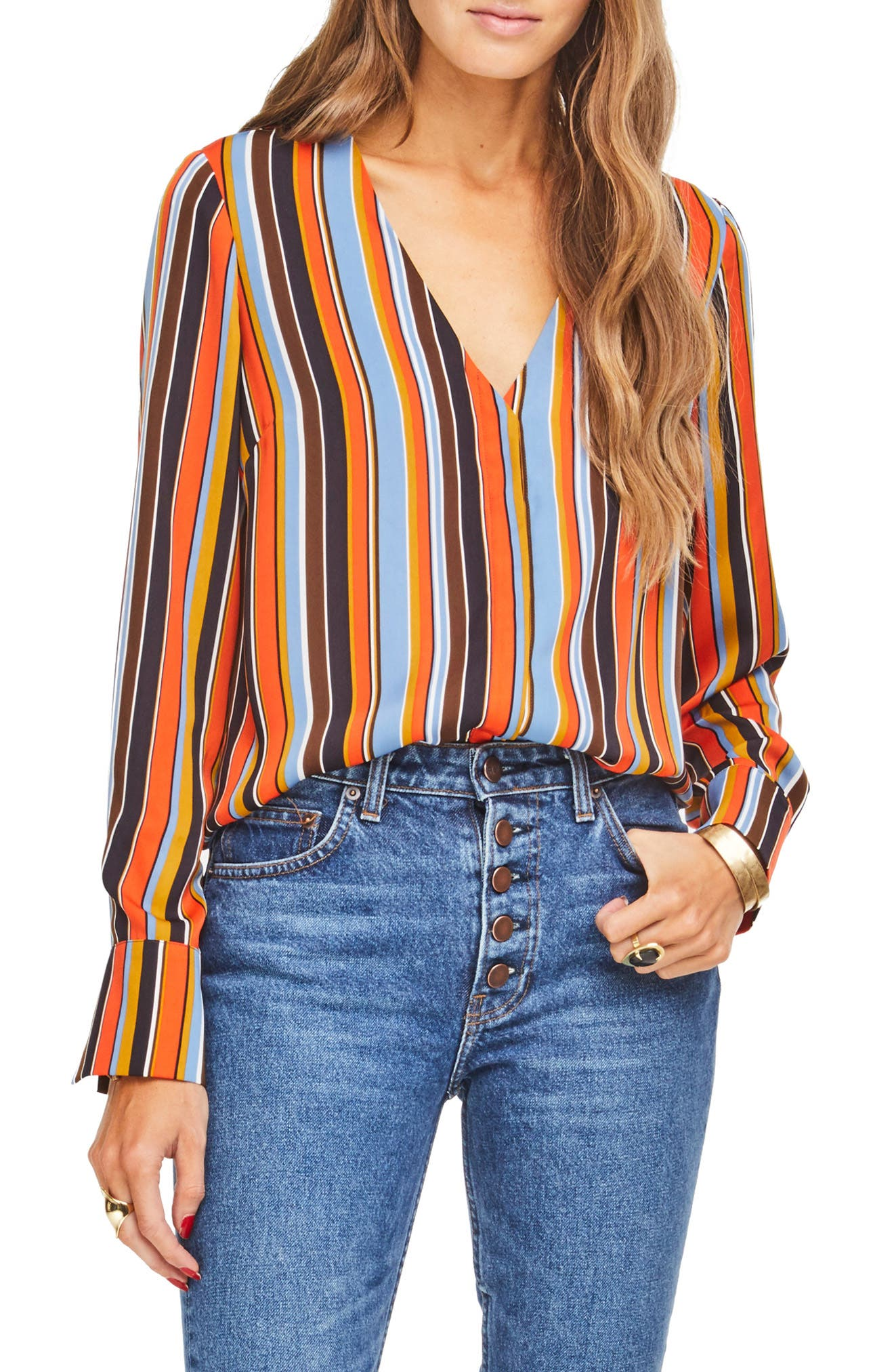 Womens Astr The Label Tops Blouses Tees Nordstrom Kate Embroidery Blouse In Blue Beatrice Clothing
