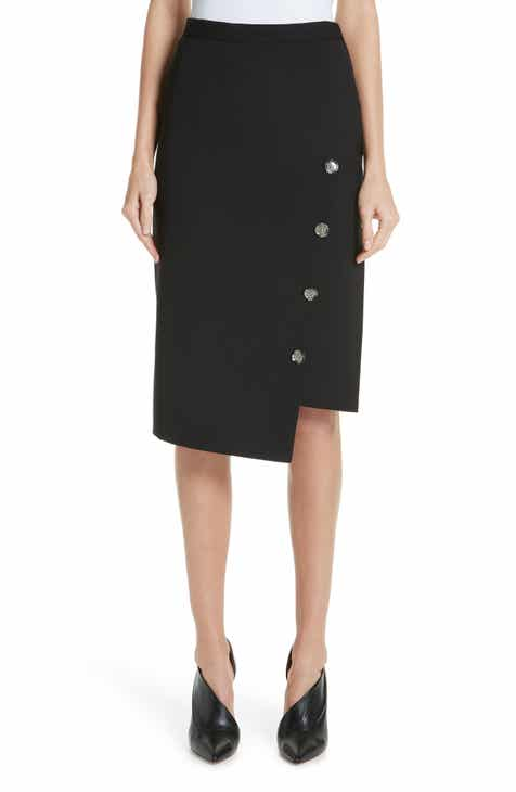 Altuzarra Button Detail Slit Stretch Wool Pencil Skirt by ALTUZARRA