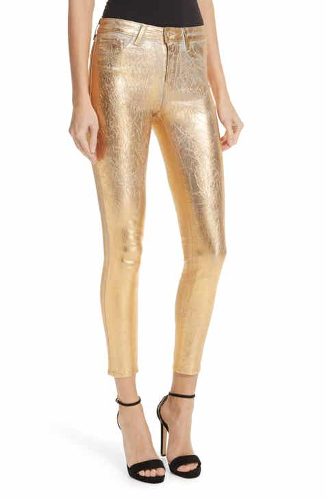 40e41f773601 L AGENCE Margot Metallic Coated Crop Skinny Jeans (Silver Foil)