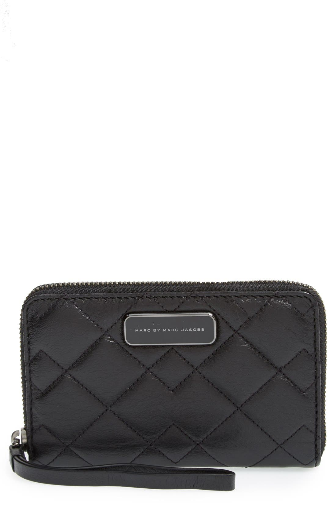 Main Image - MARC BY MARC JACOBS 'Crosby - Wingman' Quilted Leather Phone Wristlet
