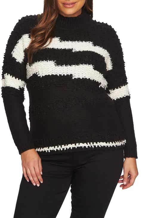 1.STATE Zigzag Stripe Textured Crewneck Cotton Blend Sweater (Plus Size) by 1.STATE