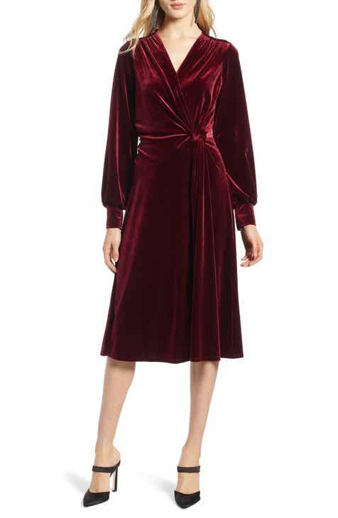 Halogen® Velvet Faux Wrap Dress (Regular & Petite)