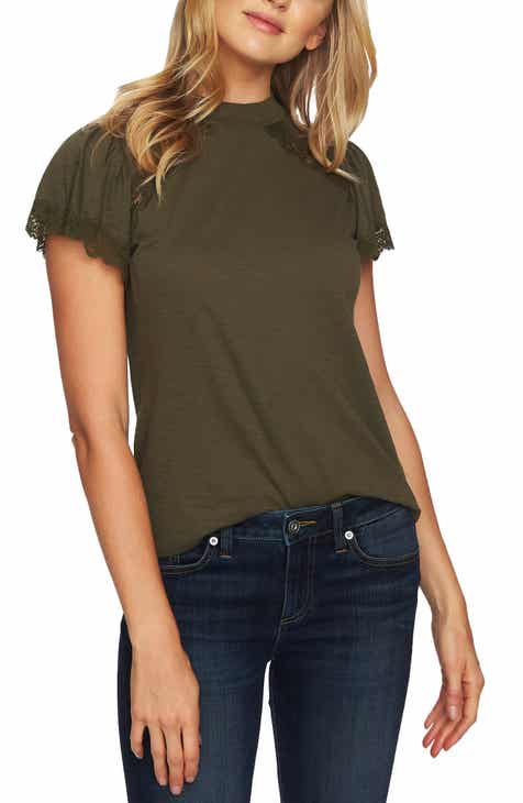 280fbb0a5efcc CeCe Lace Detail Cotton Blend Tee