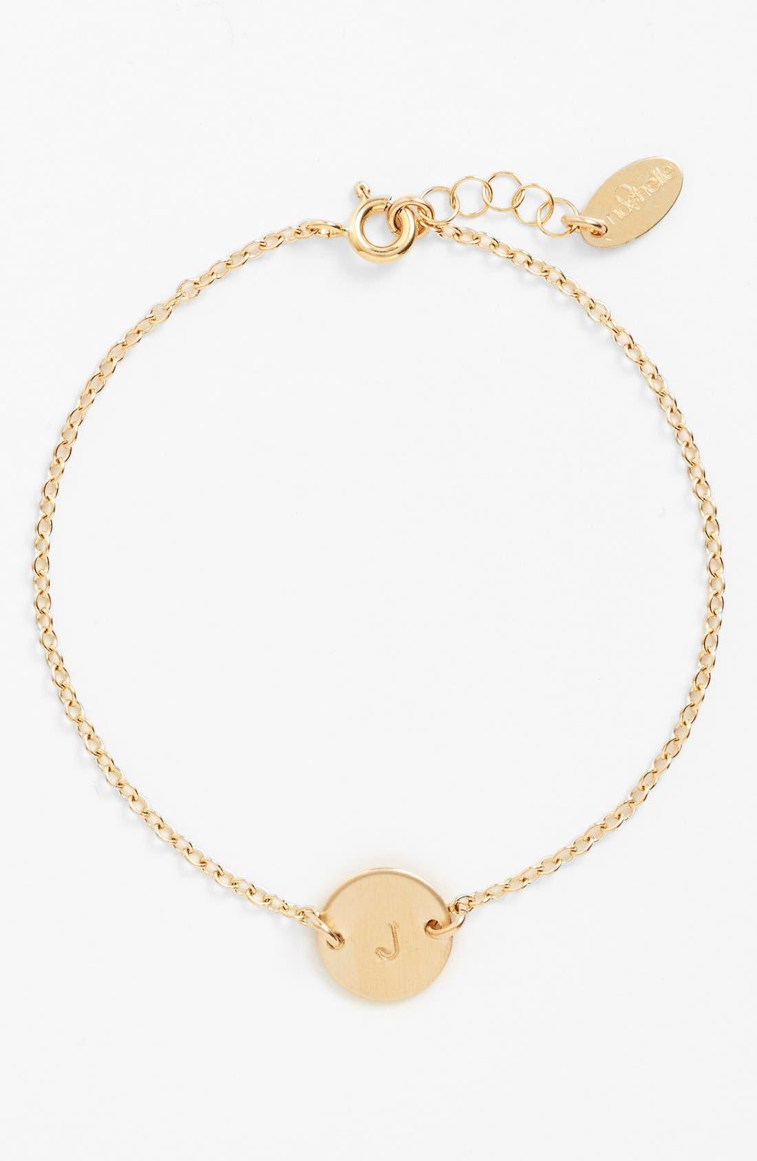 Initial Mini Disc Bracelet,                         Main,                         color, 14K Gold Fill J