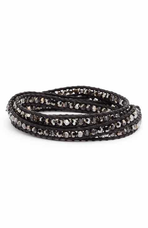 aeb765b3bd83e Chan Luu Beaded Leather Wrap Bracelet