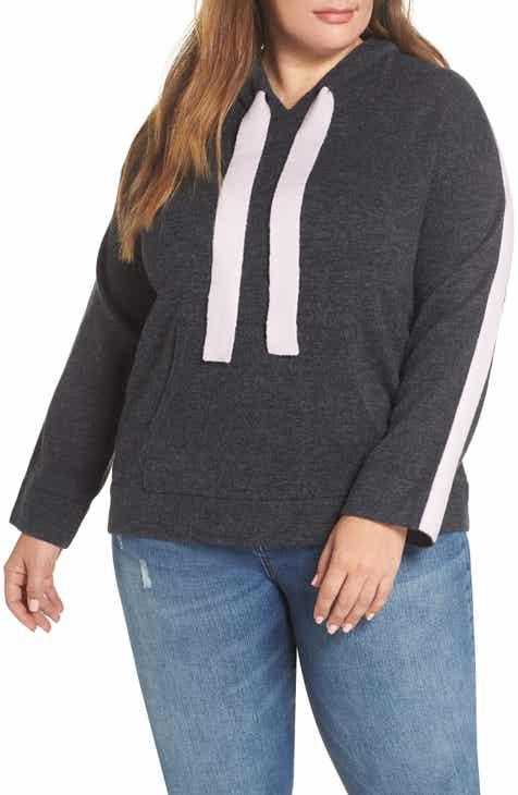 Caslon® Off Duty Hoodie Sweater (Plus Size) ce794c387