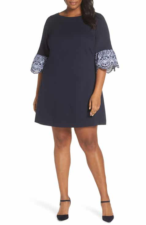 893b63e0ab Eliza J Flare Cuff Shift Dress (Plus Size)