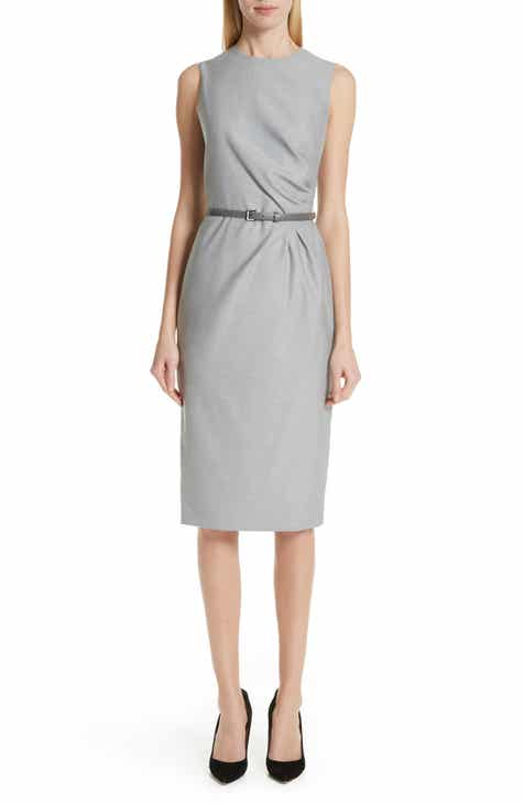 93a039364b574 Max Mara Torres Side Pleat Sheath Dress