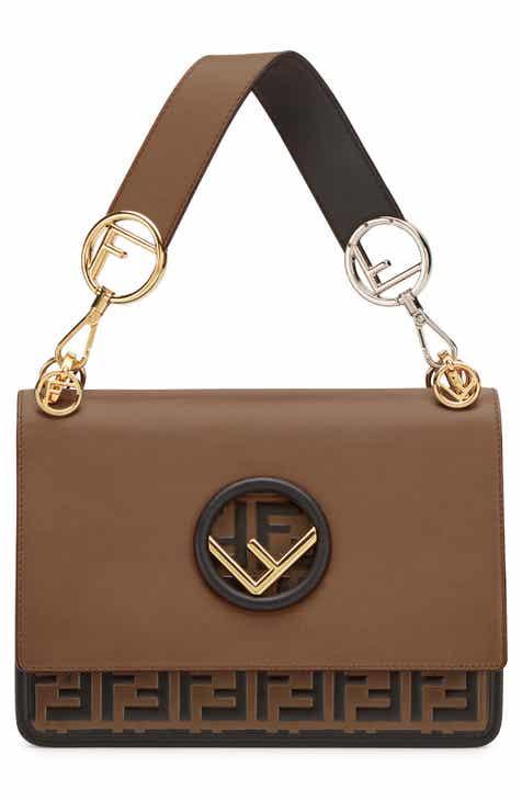 8ed8625b71f4 Fendi Kan I Logo Calfskin Leather Shoulder Bag