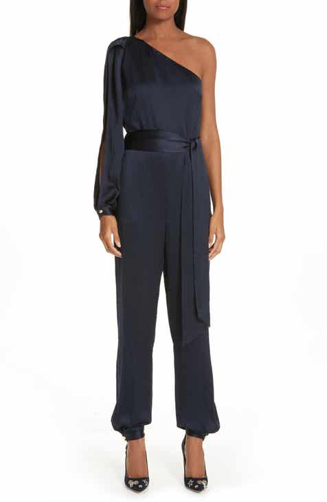 HANEY Emerson One-Shoulder Textured Silk Jumpsuit by HANEY