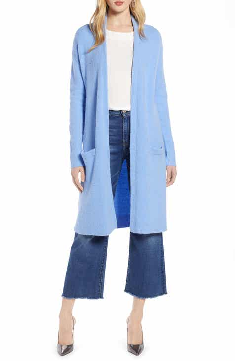 b09769474001 Halogen® Long Open Front Cardigan (Regular   Petite)