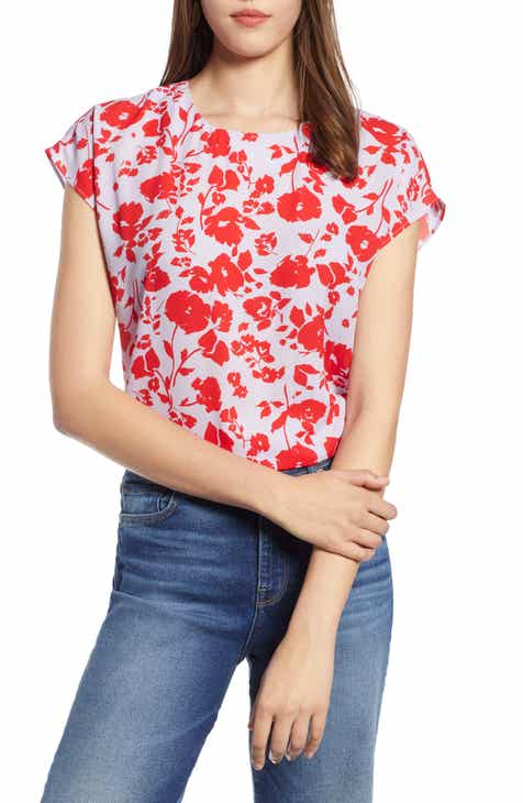 1f2c37f4f4 Halogen® Cap Sleeve Woven Blouse (Regular   Petite)