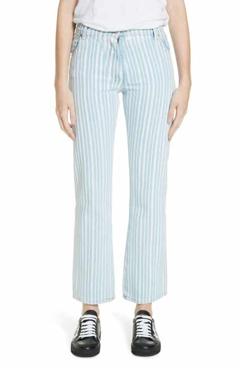 Off-White Diagonal Stripe Crop Jeans (Bleach Light) by OFF-WHITE