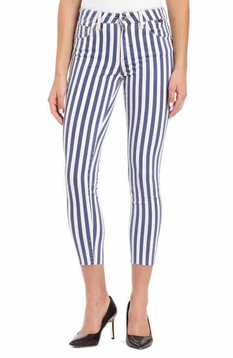 ade7eda74f4 Mavi Jeans Tess Stripe Raw Hem Skinny Jeans