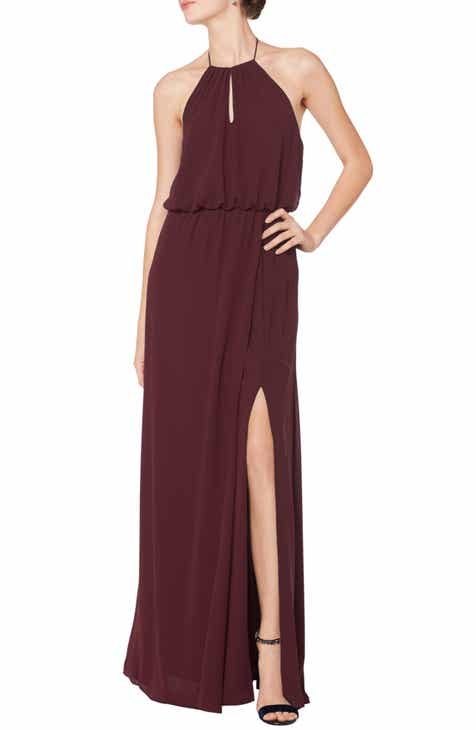 #Levkoff Halter Keyhole Blouson Chiffon Evening Dress