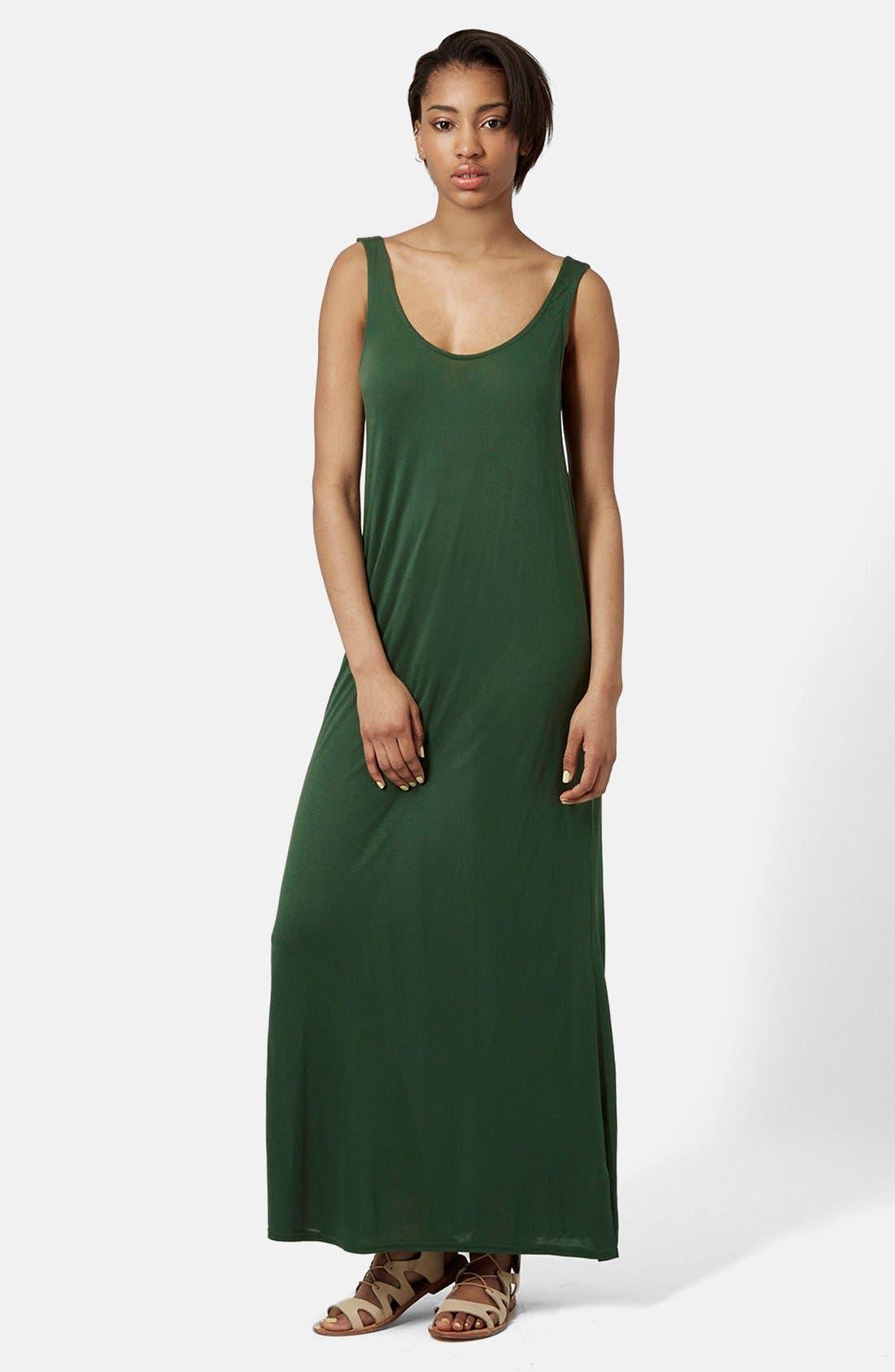 Knit Tank Maxi Dress,                         Main,                         color, Olive