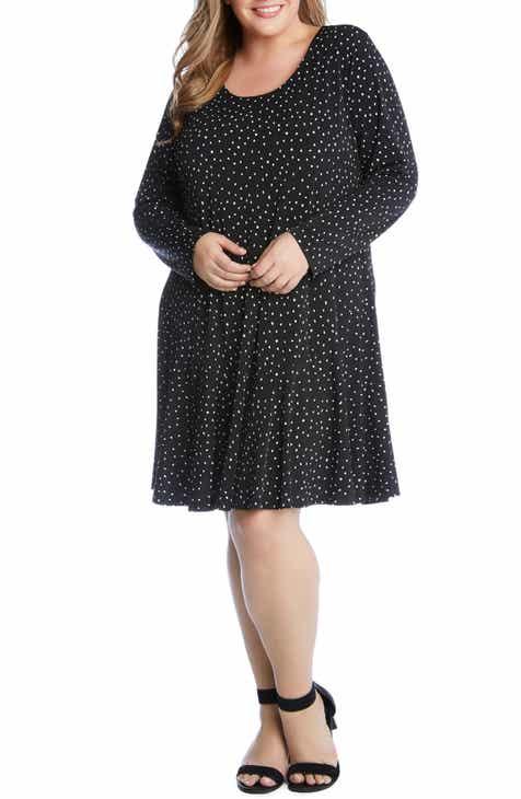 746ebc6c0a00f Karen Kane Dakota Dot Jersey A-Line Dress (Plus Size)