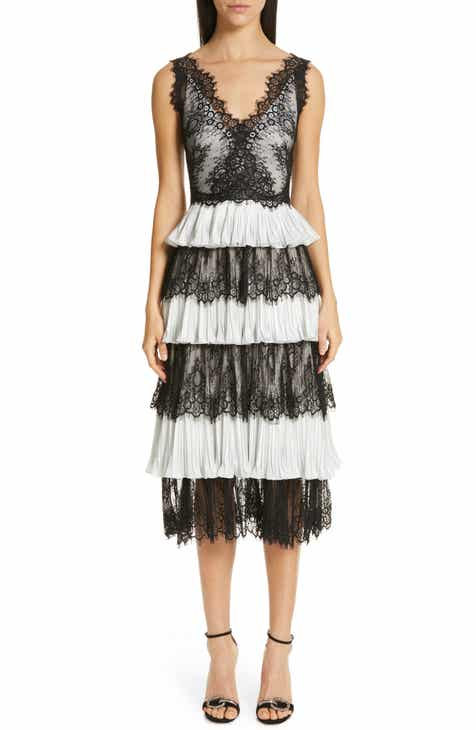 Marchesa Notte Tiered Lace Tea Length Dress by MARCHESA NOTTE