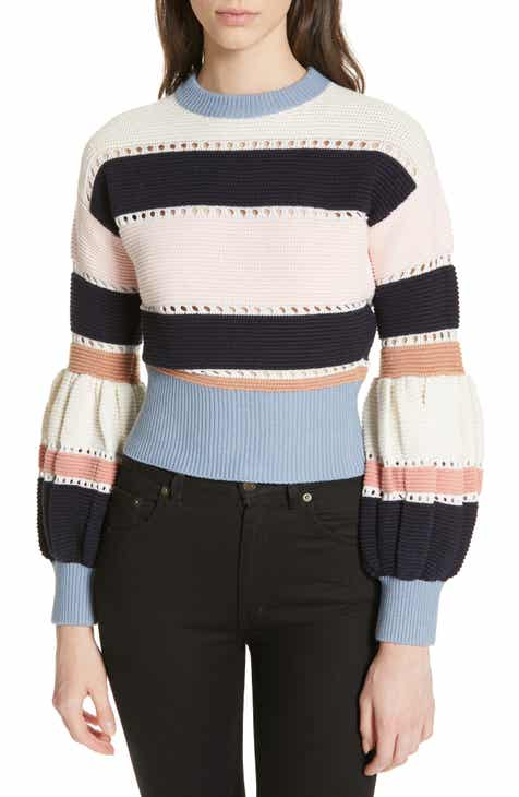 416933ff9cc0 Self-Portrait Stripe Puff Sleeve Crop Sweater
