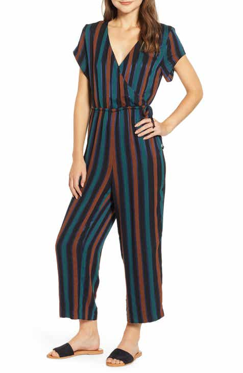 7d98e0b08f17 Madewell Stripe Short Sleeve Wrap Jumpsuit