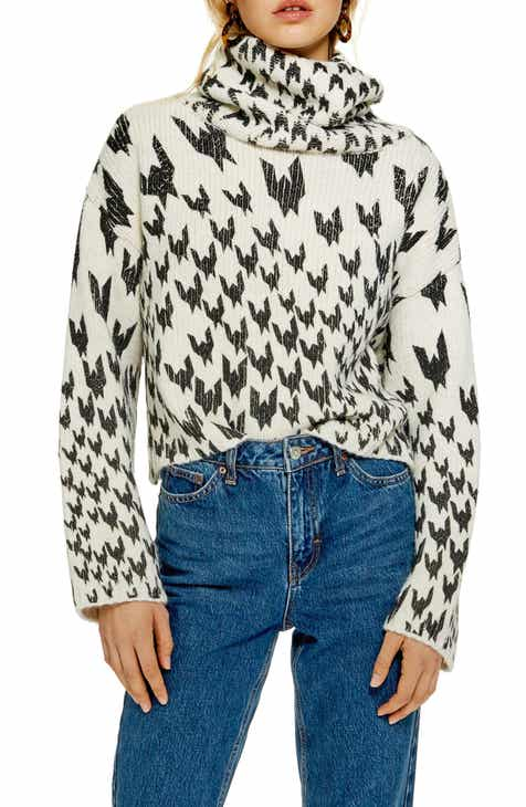 d06bec961b Topshop Dogtooth Chunky Roll Neck Sweater