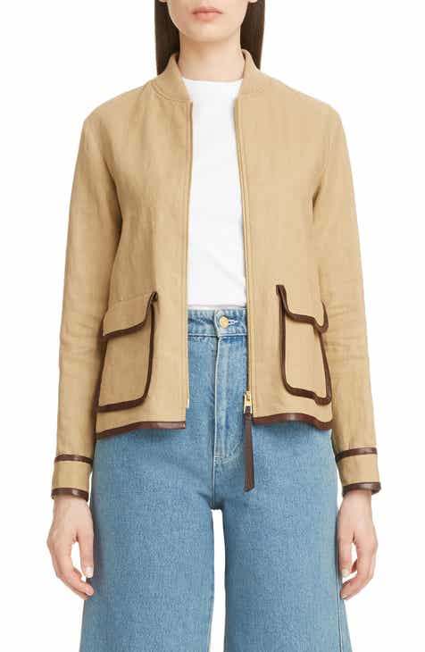 Loewe Saharienne Leather Trim Linen & Cotton Jacket by LOEWE