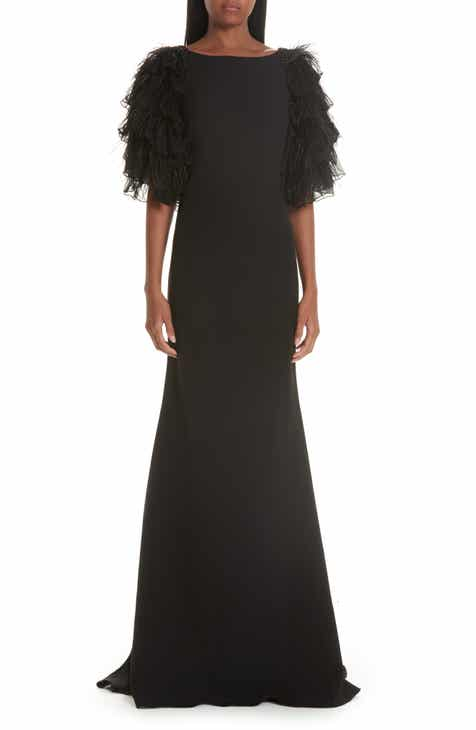 Badgley Mischka Collection Tiered Feather Evening Dress By BADGLEY MISCHKA by BADGLEY MISCHKA Purchase