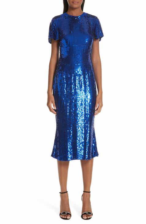 Rachel Gilbert Orla Sequin Tea Length Dress by RACHEL GILBERT