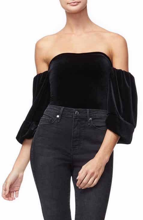 070d922b90 Good American Velvet Off the Shoulder Bodysuit (Regular   Plus Size)