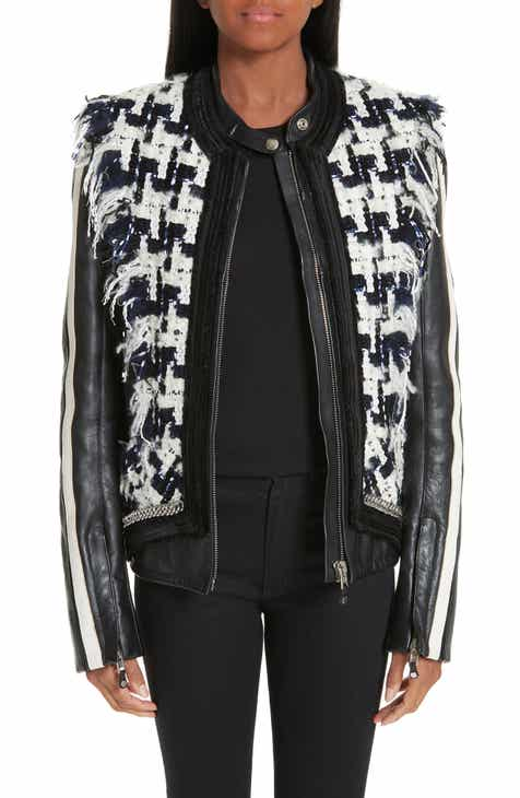 Alexander Wang Tweed Trim Leather Jacket by ALEXANDER WANG