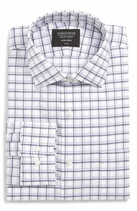 f825f719cd2 Nordstrom Men s Shop Trim Fit Non-Iron Plaid Dress Shirt