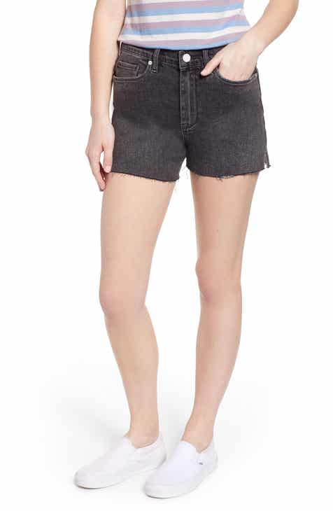 BLANKNYC Raw Hem Denim Mom Shorts (Before and After) by BLANKNYC