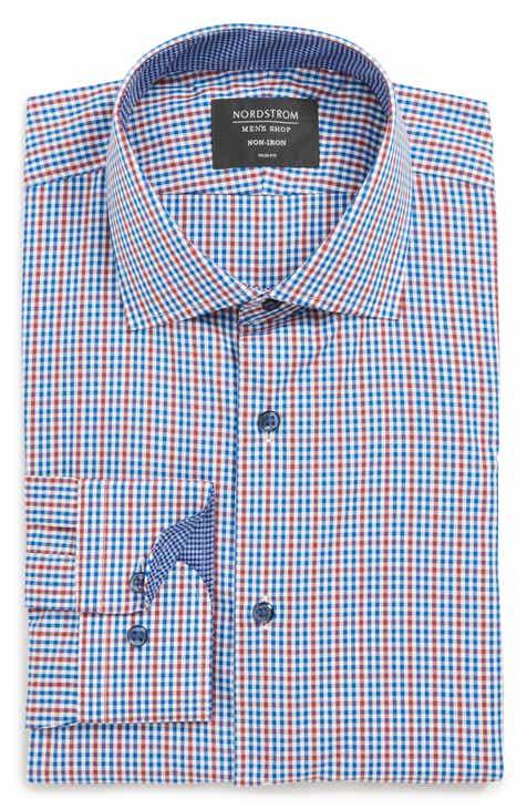 7d9fd3e6fc3 Nordstrom Men s Shop Trim Fit Non-Iron Check Dress Shirt