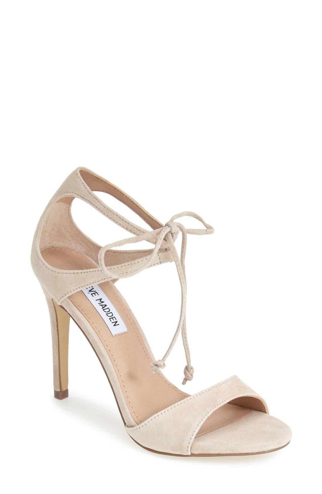 Alternate Image 1 Selected - Steve Madden 'Semona' Suede Ankle Strap Sandal (Women)