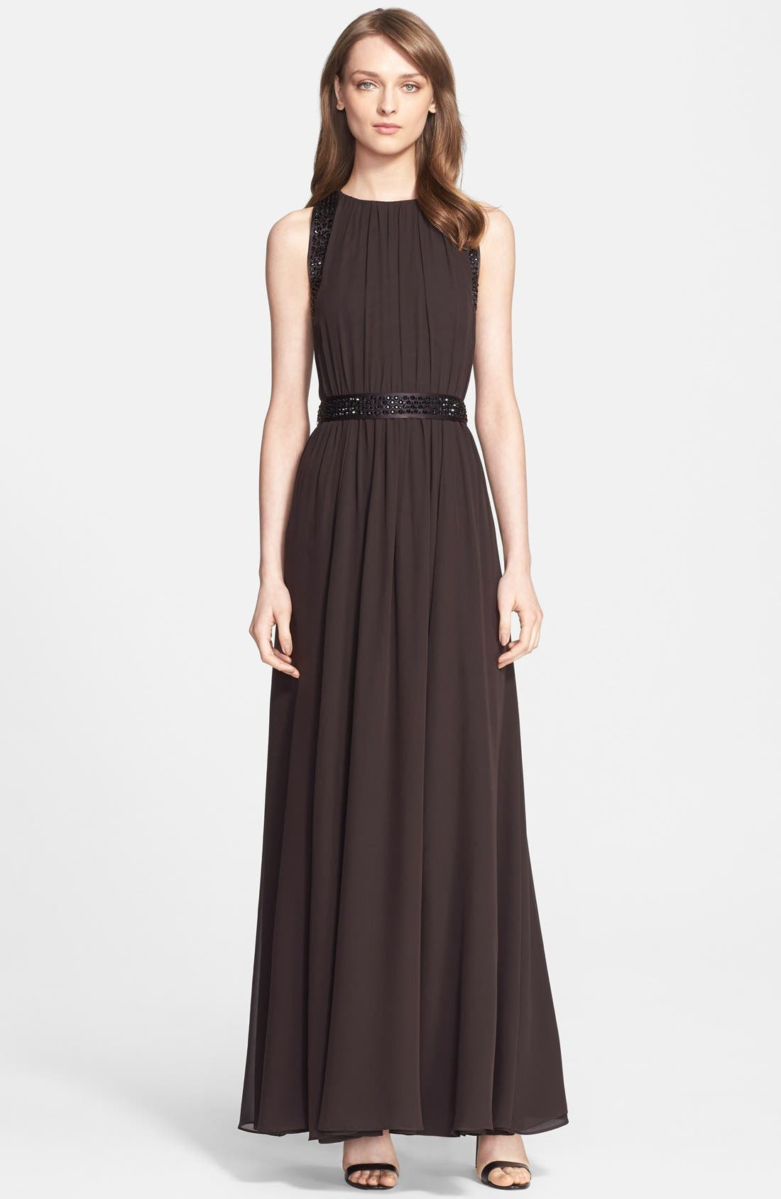 Main Image - St. John Collection Belted Embellished Silk Georgette Gown
