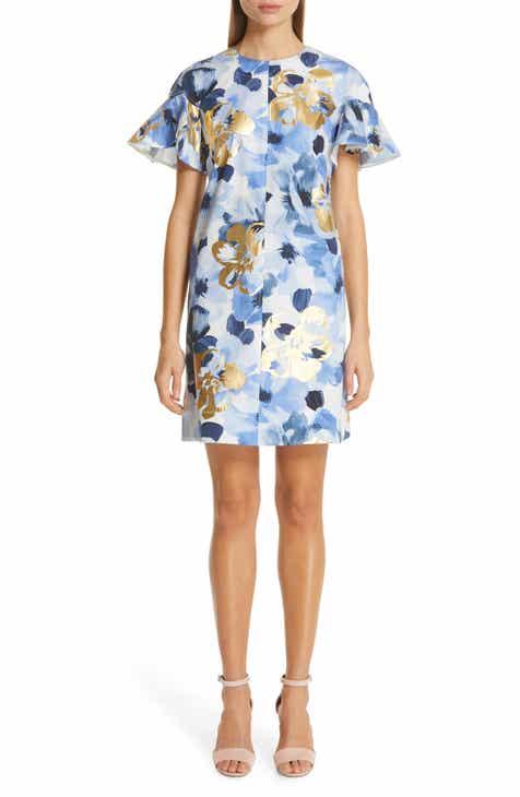 Lela Rose Flutter Sleeve Floral Stamped Cotton Dress by LELA ROSE